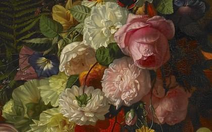 Chapeau fleuri, fleurs et fruits