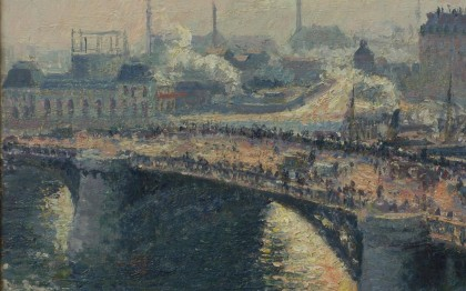 Pont Boieldieu, Rouen, Sunset, Misty Weather