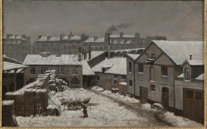 Neige à Paris ou Faubourg de Paris sous la neige