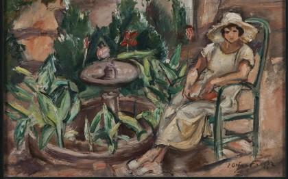 Femme assise dans un jardin  (Woman sitting in a garden)