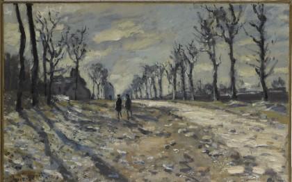 Route, effet de neige, soleil couchant