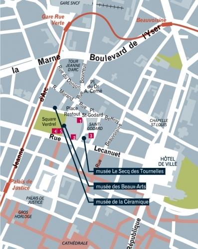 Музеи Руана на карте города